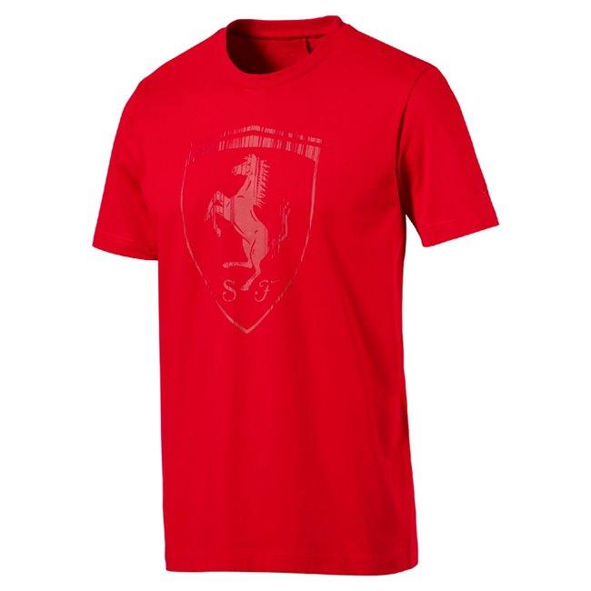 PUMA Ferrari Big Shield Tee pánské tričko, Barva: Ferrari červená, Materiál: 100% bavlna - Objednejte nyní online na Pumashop.cz.