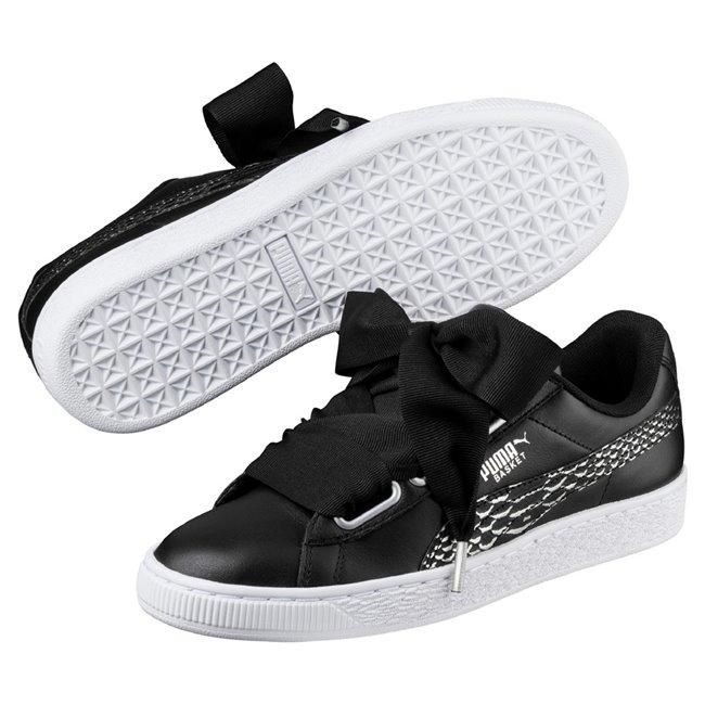 PUMA Basket Heart Oceanaire wns dámské boty, Barva: černá, Materiál: Svršek: kůže, Mezipodešev: guma, Podešev: guma - Objednejte nyní online na Pumashop.cz.