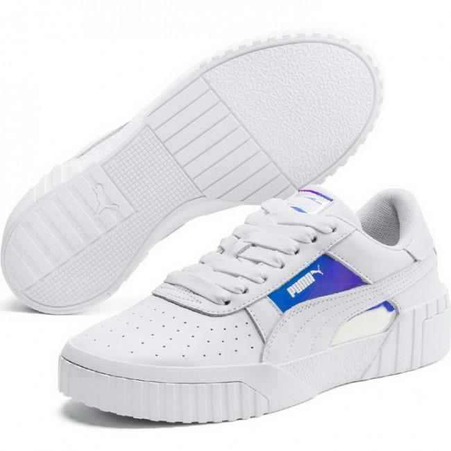 PUMA Cali Glow Wns dámské boty, Barva: bílá, Materiál: Svršek: kůže, syntetická vlákna, Mezipodešev: guma, Podešev: guma, Ostatní: Sportovní boty Cali Glow Wn