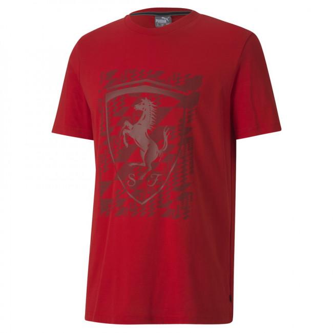 PUMA Ferrari Big Shield Tee+ pánské tričko, Barva: červená, Materiál: Bavlna, Ostatní: Pánské sportovní triko z řady PUMA PUMA Ferrari Motosport ze 100% bavlny. - Objednejte nyní online na Pumashop.cz.