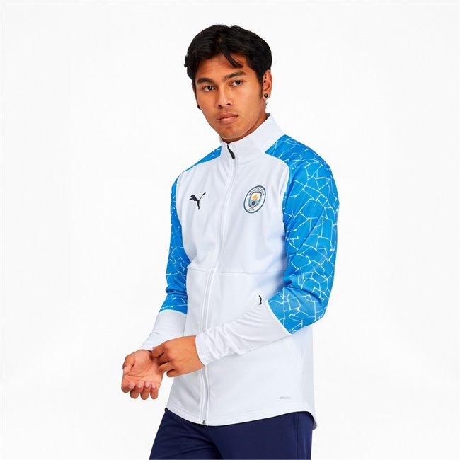 Manchester City STADIUM Jacket w z&p pánská bunda, Barva: bílá, modrá, Materiál: polyester, Ostatní: - - Objednejte nyní online na Pumashop.cz.