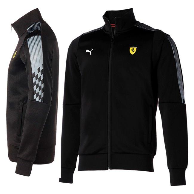 PUMA Ferrari Race T7 Track Jkt pánská bunda, Barva: černá, Materiál: polyester, bavlna,  - Objednejte nyní online na Pumashop.cz.